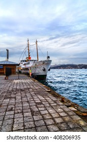 Passangers'  boat, moored by the pier, Istanbul, Bosphorus channel.