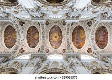 PASSAU, GERMANY - AUG 19, 2016 - Baroque ceiling frescoes of St. Stephen's cathedral in Passau, Germany