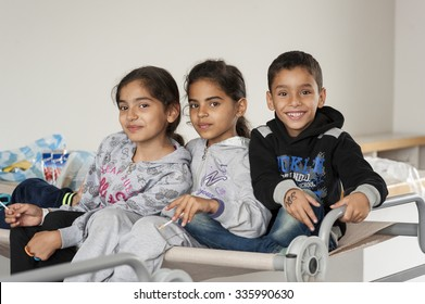 Passau, Germany - August 2th, 2015: Three sisters from Syria at a camp in Passau, Germany