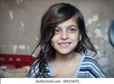 Passau, Germany - August 2th, 2015: Afghanistan girl named Nasila in refugee camps, Passau