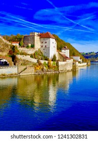 Passau, Germany downtown area along the Danube River. The shot is from a riverboat.