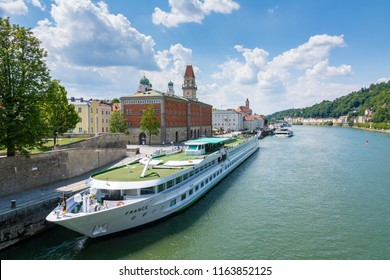 PASSAU, GERMANY - JULY 14: Passenger ship at the harbour of the river Danube in Passau, Germany on July 14, 2018. Foto taken from Prinzregent-Luitpold bridge.