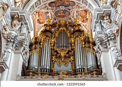 PASSAU, GERMANY - JULY, 2018: Organ at St. Stephan's Cathedral, Passau. It is the largest cathedral organ in the world. The organ currently has 17,774 pipes and 233 registers
