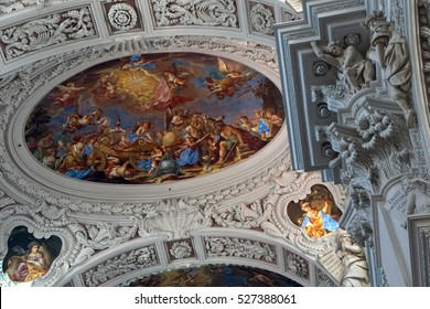 PASSAU, GERMANY - SEP 8, 2016 - Baroque ceiling frescoes of St. Stephen's cathedral in  Passau, Germany