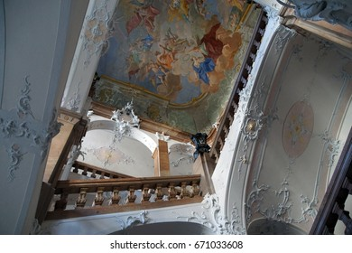 PASSAU, GERMANY - SEP 8, 2016 - Fresco ceiling and staircase in  Passau, Germany