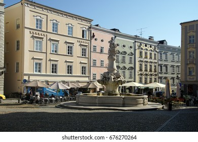 PASSAU, GERMANY - SEP 8, 2016 - Fountain in the town square of  Passau, Germany