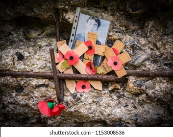 Passchendale, Belgium - April 2014 -Memorial to a British WW1 soldier on a bunker at Hill 60, Ypres.