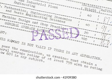 Passed the board examination result - concept for examination being passed.