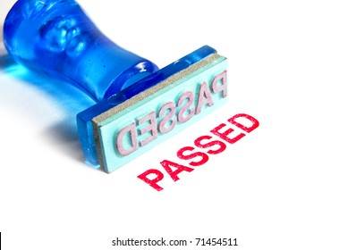 passed letter on blue rubber stamp isolated on white background