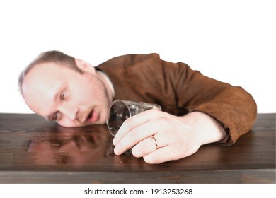 Passed out middle aged man sleeping at the bar counter with spilled drink. Guy wears brown leather jacket and white shirt. Isolated, white background.