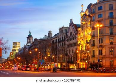 Passeig de Gracia in winter evening. Barcelona, Spain