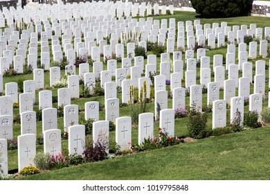 PASSENDALE, BELGIUM - JUN 6, 2015: Tyne Cot World War One Cemetery the largest British War cemetery in the world in Passendale Belgium on Jun 6, 2015.