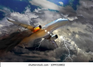 Passenger air plane crash, Flame of airplane engine