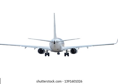 passenger aircraft back view tail and engines
