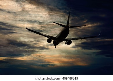 Passenger aircraft flying evening flight