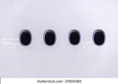 passenger airline windows from outside.