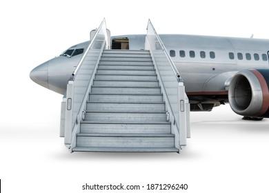 Passagierflugzeug mit einer Bordrampe auf Flughafenvorfeld einzeln auf weißem Hintergrund