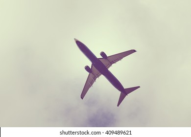 Passenger airplane directly above