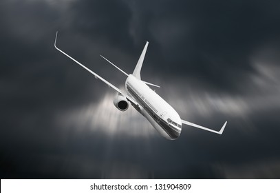 Passenger airplane falling from sky against stormy cloudscape