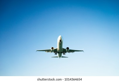 A passenger airplane flying in the blue sky