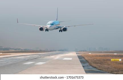 Passenger airplane landing to airport