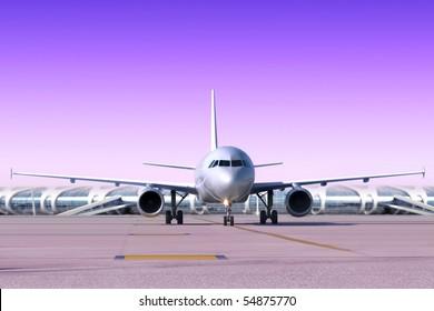 passenger airplane is landing to runway of airport
