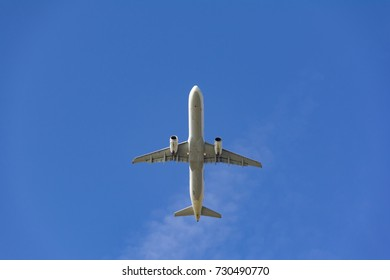 passenger airplane on blue sky composition photography