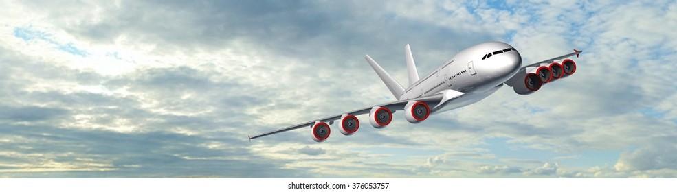 Passenger Airplane in the sky  - panorama