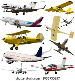 Passenger airplanes, gliders, gyroplanes, aircrafts isolated on white background