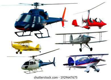 Passenger airplanes, gliders, gyroplanes, sports light aircraft isolated on white background
