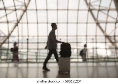 Passenger at an airport blurred on purpose
