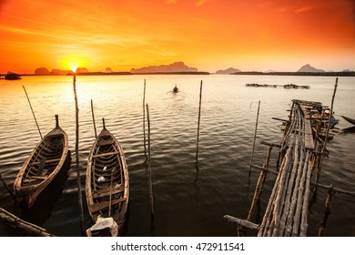 Passenger boats in southern Thailand.