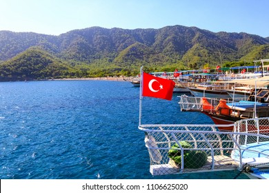 Passenger boats waiting for tourists in the Adrasan cove. Antalya-Turkey