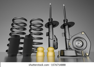 Passenger car Shock Absorber with dust cap, buffer mounting and strut mounting - new auto parts, spare parts. Spare parts for shop, aftermarket OEM