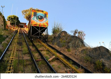 Passenger carriage of funicular railway, one of the oldest in the world, Valparaiso, Chile.