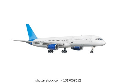Passenger commercial airplane isolated on white background.