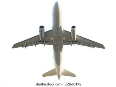 passenger commercial jet airplane isolated on white background. from below bottom view.