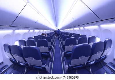 Passenger compartment of an aircraft Boeing 737-400. Boryispil airport administration's demonstration for mass-media newly purchased Boeing 737-400. July 21, 2016. Boryspil, Ukraine