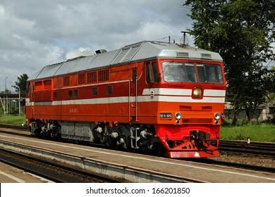 Passenger diesel locomotive TEP70-0045, Pskov, Russia
