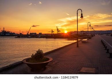 Passenger dock of Vilagarcia de Arousa harbor at golden sunset