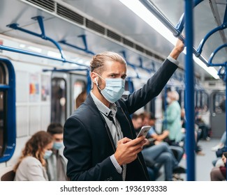 passenger in a face mask while reading a text .