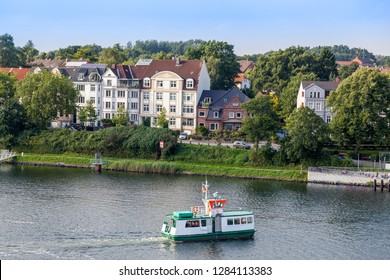 Passenger ferry crossing Kiel Canal, Kiel Holtenau, Germany