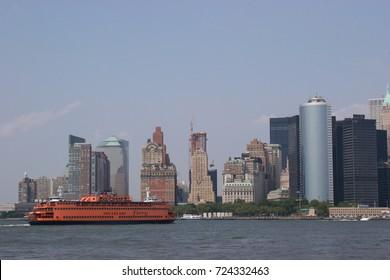 Passenger ferry crossing upper bay between lower Manhattan and Staten Island