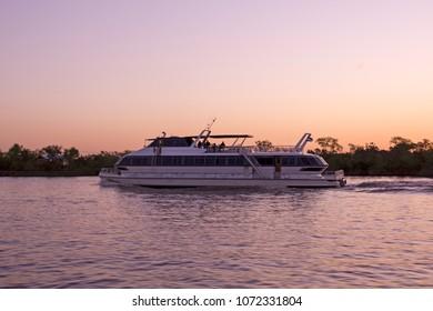 Passenger ferry sailing by the Rio de la Plata, between Argentina and Uruguay.