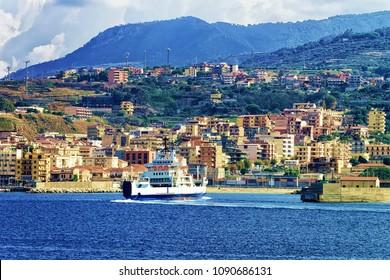 Passenger ferry ship in the Mediterranean Sea at Reggio Calabria, in Italy