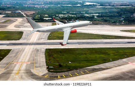 Passenger jet aircraft in flight. The plane takes off from the airport runway. Airplane aerial and side view.