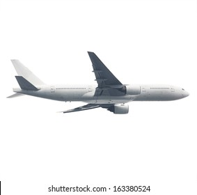 Passenger jet airliner / airplane in flight, isolated on pure white. Flip image to reverse direction.