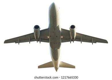 passenger jet airplane isolated on white background. from below bottom view.