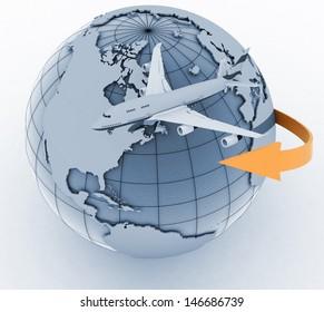 passenger jet airplane travels. 3d render illustration on white background