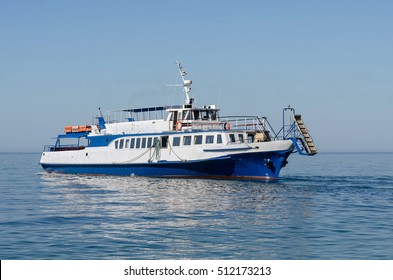Passenger motor boat at sea